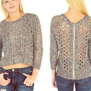 Vintage Havana open knit multi color zip back top